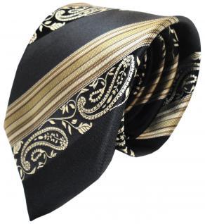TigerTie Seidenkrawatte anthrazit schwarz gold braun gestreift- Krawatte Paisley