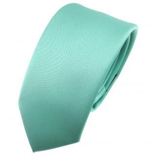 Schmale TigerTie Satin Krawatte grün mint Uni - Schlips Binder Tie