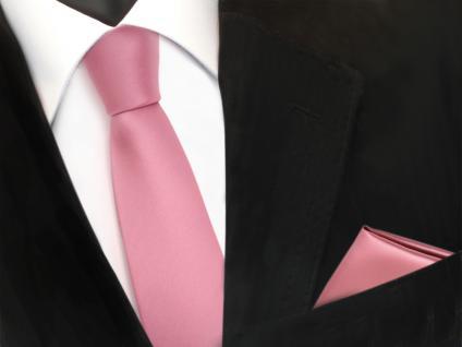 schmale TigerTie Schlips Krawatte + Einstecktuch in rosa altrosa uni Binder Tie