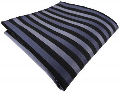 Einstecktuch in anthrazit schwarz gestreift - Tuch Polyester - Gr. 25 x 25 cm
