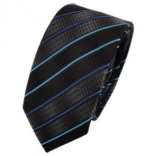 Schmale TigerTie Krawatte schwarz anthrazit türkis blau gestreift - Binder Tie
