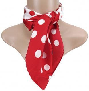 TigerTie Damen Satin Nickituch rot weiß gepunktet - 100% Seide - Gr. 52 x 52 cm