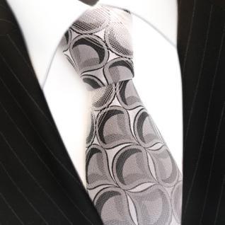 Seidenkrawatte grau hellgrau anthrazit weiss gestreift - Krawatte 100 % Seide