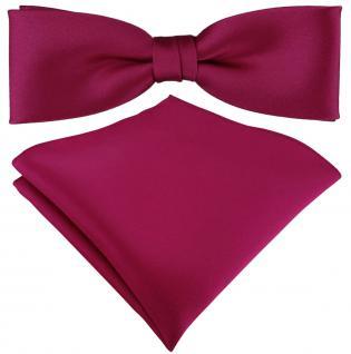 vorgebundete schmale TigerTie Satin Fliege + Einstecktuch in pink Uni + Box