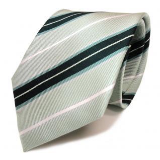 Mexx Designer Seidenkrawatte grün hellgrün petrol weiß gestreift- Krawatte Seide