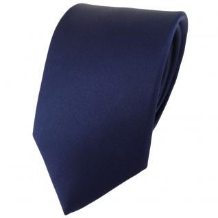 TigerTie Satin Seidenkrawatte in marine einfarbig Uni - Krawatte 100% Seide