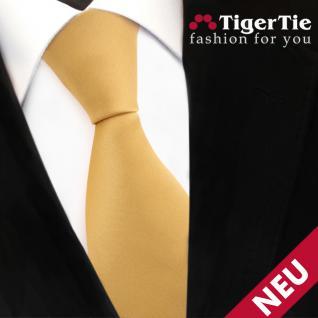 TigerTie Satin Krawatte gold Uni - Schlips Binder Tie