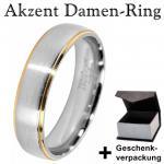 Akzent Damen Edelstahl Ring + Geschenkbox Größe 62 Farbe Silber Gold