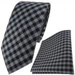 TigerTie Designer Krawatte + Einstecktuch in anthrazit grau schwarz kariert