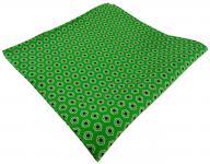 TigerTie Seideneinstecktuch in grün schwarz hellgrün gemustert -Tuch 100% Seide