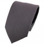 schöne Krawatte in grausilber schwarz gemustert - Krawatte Binder Tie