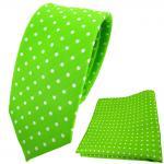 schmale TigerTie Krawatte + Einstecktuch leuchtgrün neongrün silber gepunktet
