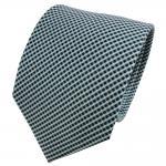 TigerTie Seidenkrawatte mint blau dunkelblau silber kariert - Krawatte Seide Tie