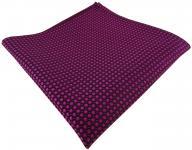 TigerTie Designer Seideneinstecktuch in lila violett purpur schwarz gepunktet
