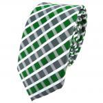 Schmale TigerTie Krawatte grün grau silber weiss gestreift - Schlips Binder