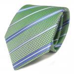 Schicke Seidenkrawatte grün blau weiss gestreift - Krawatte Seide Tie Schlips