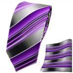 Schmale TigerTie Krawatte + Einstecktuch lila flieder anthrazit silber grau
