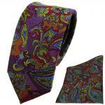 schmale TigerTie Krawatte + Einstecktuch violett olive blau rot Paisley