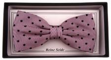 schöne Seidenfliege in altrosa rosa schwarz gepunktet - Fliege Seide Silk