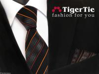 schöne TigerTie Krawatte + Einstecktuch in orange schwarz anthrazit gestreift