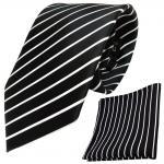 schöne TigerTie Designer Krawatte + Einstecktuch schwarz weiß silber gestreift