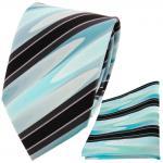TigerTie Krawatte + Einstecktuch in mint grün türkis schwarz grau gestreift