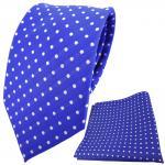 TigerTie Designer Krawatte + Einstecktuch blau ultramarinblau silber gepunktet