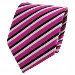 TigerTie Designer Krawatte pink telemagenta schwarz weiß gestreift - Binder Tie