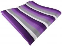 TigerTie Einstecktuch in lila violett grau weiss gestreift - Größe 30 x 30 cm