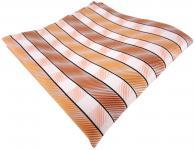 TigerTie Seideneinstecktuch orange lachs hautfarben weiß gestreift -100% Seide