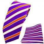 schmale TigerTie Krawatte + Einstecktuch lila violett orange weiß gestreift