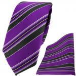 schmale TigerTie Krawatte + Einstecktuch in lila violett schwarz weiß gestreift