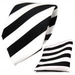 Schicke Designer TigerTie Krawatte + Einstecktuch schwarz weiss gestreift