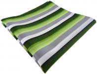 TigerTie Einstecktuch in grün dunkelgrün grau weiss gestreift - Größe 30 x 30 cm