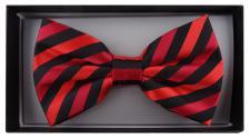 Fliege in rot schwarz gestreift + Geschenkbox - Schleife 30 - 50 cm verstellbar