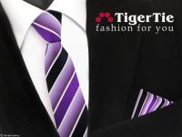 schmale TigerTie Krawatte + Einstecktuch lila violett dunkelblau weiß gestreift