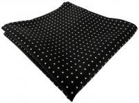 TigerTie Einstecktuch schwarz weiss gepunktet - Kavalierstuch Größe 28 x 28 cm