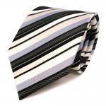 Schicke Seidenkrawatte schwarz creme grau gestreift - Krawatte Seide Tie
