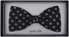 TigerTie Fliege in schwarz silber gemustert - Fly Fliege 100% pure Seide Silk