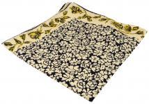 Seideneinstecktuch in beige schwarz goldgelb mit Blumenmuster - Tuch 100% Seide