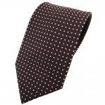 TigerTie Krawatte braun dunkelbraun silber gepunktet - Binder Tie