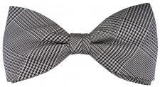 TigerTie Seidenfliege grau silber schwarz kariert - Stoffmuster Prince of Wales