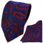 TigerTie Designer Krawatte + Einstecktuch blau rot weinrot lila schwarz Paisley