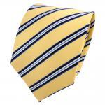 TigerTie Designer Seidenkrawatte gelb hellgold blau schwarz weiß gestreift