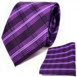 TigerTie Designer Krawatte + Einstecktuch lila violett flieder schwarz gestreift