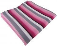 TigerTie Einstecktuch in rosa pink grau weiss gestreift - Größe 30 x 30 cm