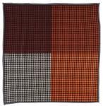 Multi Einstecktuch in braun orange beige schwarz gemustert - 100% Wolle