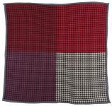 Multi Einstecktuch in rot lila weinrot beige schwarz gemustert - 100% Wolle