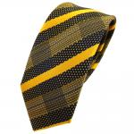 schmale TigerTie Seidenkrawatte gelb sonnengelb blau silber gestreift - Krawatte