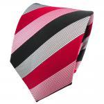 TigerTie Seidenkrawatte rot feuerrot schwarz weiß gestreift - Krawatte Seide